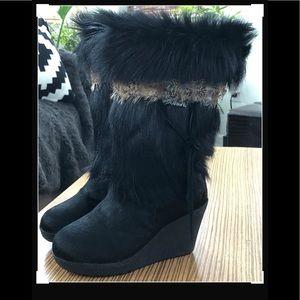 BEARPAW Fur Wedge Boots